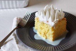 imagen plato con una porción de torta tres leches